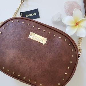 Bebe Gold Studded Crossbody Bag/Purse in Brown/Tan